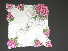 Pink VIOLETS Handkerchief Bridal Bouquet of Flowers Hanky Hankie Lily of Valley