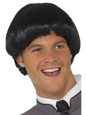 60s 1960s Bowl Fancy Dress Wig Fab Four Beatles Black Wig New by Smiffys