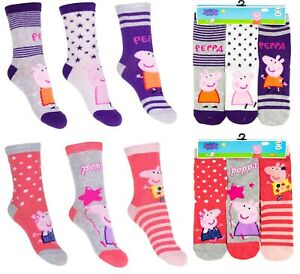 3 PAIRS of Girls Kids Childrens Genuine PEPPA PIG Character Pink Socks Novelty