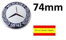 Mercedes Benz 74mm Capó bonnet Insignia Emblema Azul Y Cromo Auto Adhesivo
