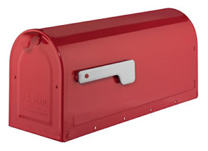 Architectural Mailboxes 7600R MB1 Post Mount Mailbox Red with Silver Flag MB1