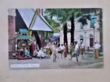 VINTAGE POSTCARD - NATIVES PLAYING FOOTBALL - RANGOON - BURMA - MYANMAR