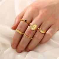 5pcs/Set Gold Bohemian Moon Flower Midi Finger Knuckle Rings Fashion Jewelry