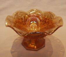 "Carnival Glass: Imperial ""Scroll Embossed"" Marigold COMPOT"