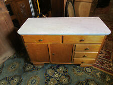 Shabby Chic Kommode Waschtisch Möbel mit Marmorplatte 50 iger Jahre Natur