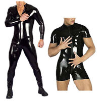 Mens Latex Leather Bodysuit Leotard Wrestling Singlet Jumpsuit Underwear Costume