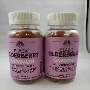 Country Farms Black ELDERBERRY Gummies +Vitamin C Zinc 60 Gummies x 2 EXP 6/2022