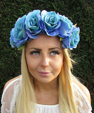 Large Turquoise Blue Rose Flower Headband Garland Hair Crown Festival Boho 1727