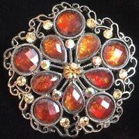 Vintage Amber & Rhinestone Round Pin / Brooch Wreath Circle Silver Tone Orange