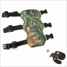 Archery Camo 3 Straps Arm Guard Black Finger Guard Leather for Hunting Practice