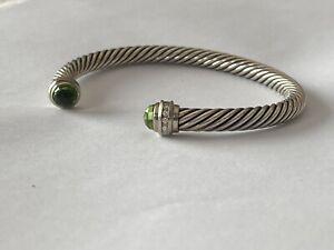 David Yurman Classic Cable Bracelet Peridot & Diamonds August Birthstone