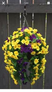 Beautiful  Purple/yellow  Artificial  Trailing Hanging Basket Ready To Hang