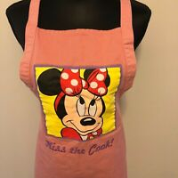 Minnie Mouse Apron Kiss The Cook Walt Disney World Pink Denim Womens One Size