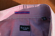 PAUL SMITH Mens Italy Trim Fit Shirt 17 L 34/35 sleeve Gingham Check Red Plaid