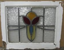 "OLD ENGLISH LEADED STAINED GLASS WINDOW Pretty Abstract Design 21.5"" x 17.5"""