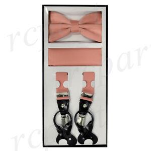 New Y back Men's Vesuvio Napoli Suspenders Bowtie Hankie dusty mauve Pink