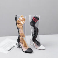 Fashion Women TPU Clear Mid Calf Boots Transparent Crystal Block Heel Shoes Size