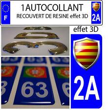 1 sticker plaque immatriculation auto 3D EN RESINE DRAPEAU CATALAN BLASON DEP 2A