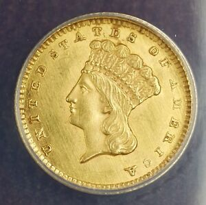 1862 $1 Gold Coin ANACS MS-60 Details Cleaned (Better Coin) Civil War Money