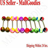 W020 Acrylic Tongue Rings Stripes Design Barbell Balls 14G Bar Set of 10 Color