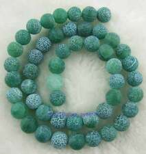 """8mm Round Rough Green Crack Agate Loose Beads 15"""""""