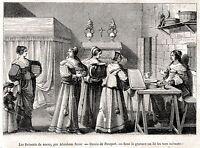 I regali di nozze. Matrimonio. Stampa Antica + Passepartout. 1851