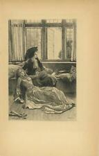 ANTIQUE VICTORIAN WOMAN FAINTING SPELL GLOVES OPEN WINDOW CURTAINS SORROW PRINT
