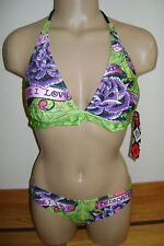 NEW ED HARDY WOMEN'S STUDDED TRIANGLE BIKINI SWIMSUIT SMALL HOT