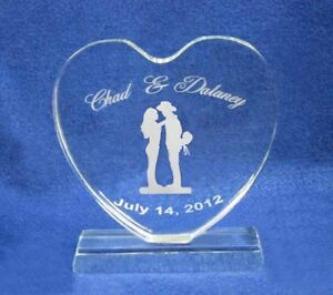 Western Crystal Heart Wedding Cake Topper Engraved NEW
