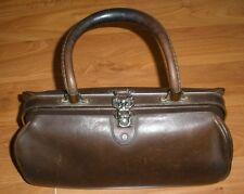 A+ Vintage ETIENNE AIGNER Hand Made Brown Leather Handbag Hand Bag Brass Lock