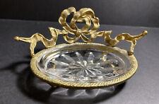Vtg Hollywood Regency Glam Gold W/Clear Cut Glass Trinket Soap Dish Bow Pedesta
