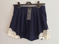 Women's Girls On Film, Little Mistress Navy Lace Shorts. Zip. UK Size 8.