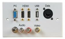 WALLPLATE 2G 2HDMI VGA USB A AV RJ45 - 2GC-1003AX-BH