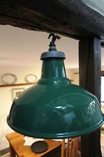 SINGLE Vintage Industrial PHILLIPS Green Enamel Factory Pendant Lamp Shade SALE