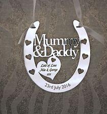 Personalised Mummy & Daddy Lucky Wedding Horseshoe Anniversary FREE GIFT BAG