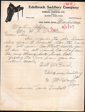 1927 Fort Worth Texas - Edelbrock Saddlery Co - Harness Robes Whips Letter Head