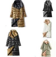 Two Sides Wear Women Long parka Ultra Light White Duck Down Jacket Puffer coat.