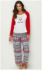 "KN Karen Neuburger Women's ""Deer Me!"" Pajama Set PJ's XS Fleece Pants Pajamas"