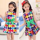 Pageant Kids Girls Summer Polka Dot Party Sundress Cotton Belt Top Dress SZ 4-9Y