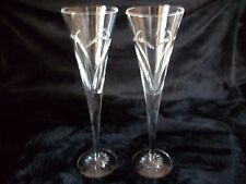 WATERFORD LOVE & ROMANCE CHAMPAGNE FLUTES WISHES HEART DESIGN SET OF 2
