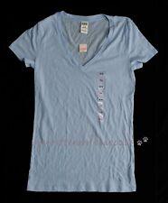 BNWT Victoria's Secret Pink M Azul Algodón Camiseta T-shirt Sleep Lounge Gimnasio Nuevo