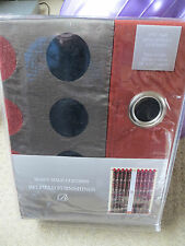 One pair heavy fully lined eyelet curtains beige black terracotta chenille spots