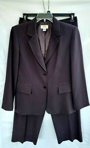 Talbots 2 Piece Pant and Blazer Suit Womens Size 12 Brown Lined Career