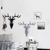 Resin Animal Deer Stags Head Hook Hanger Rack Holder Wall Mount Home Room Decor