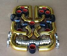"3.0"" DIY Gold Aluminum 12x Turbo Intercooler Piping Kit Black Coupler Universal"