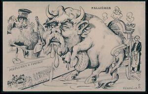 Judaica Dreyfus affair Golden calf Fallieres original old 1910s postcard