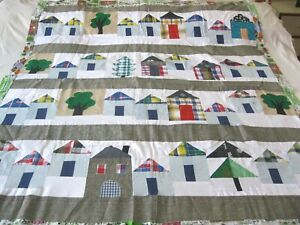 """Machine sewing patchwork and applique handmade size 52""""x  64"""" quilt top"""