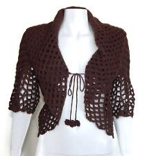 WHITE + WARREN 100% Cashmere Espresso Brown Crochet Knit Trim Cardigan sz M/L