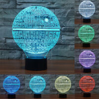 7Color 3D LED Star Wars Death Star Bulb Illusion Night Light USB Desk Table Lamp