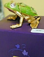 Green Swarovski 24K Gold Plated Crystal Temptations Frog IOB